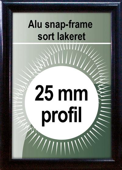 Snapramme - 25mm profil i sort