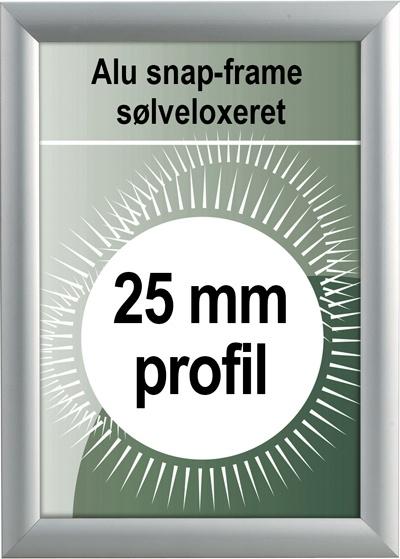Udendørs Snapramme - 25mm profil i sølv