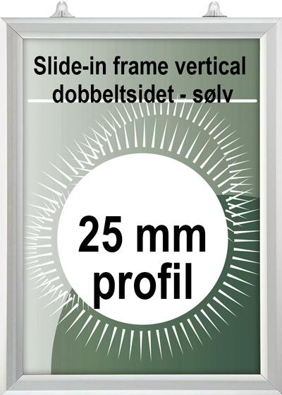 Slide-In ramme - 25mm profil dobbeltsidet vertikal