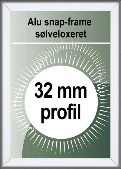 Security Snapramme - 32mm profil i sølv