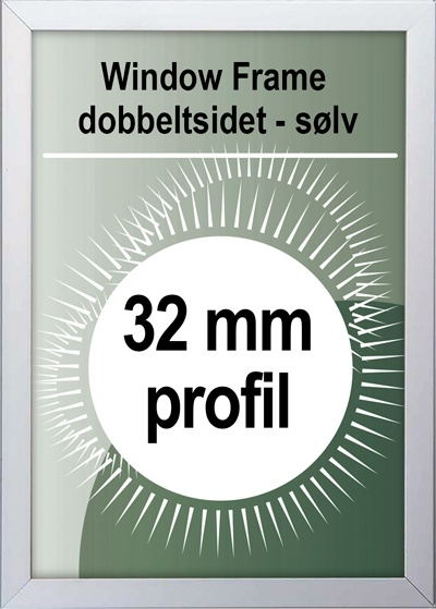 Dobbeltsidet Snapramme - 32mm profil i sølv